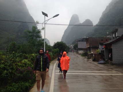 In Guilin with our raincoats
