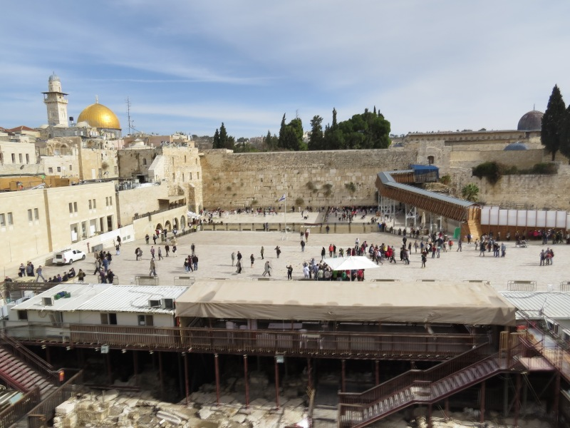 The Western wall and Dome of the Rock from a terrace
